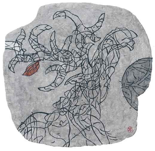 CSODASZARVAS / CERBUL FERMECAT / THE MAGIC STAG / LE CERF MAGIQUE / papier maché / 53,5x56 cm / 2017