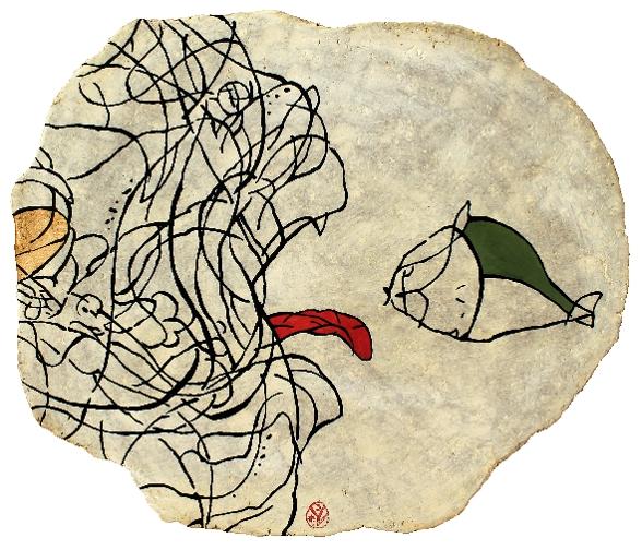 MOHÓSÁG / LĂCOMIE / GREEDINESS / AVIDITÉ / papier maché / 57x46,5 cm / 2017