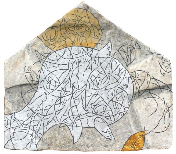 LEHETSÉGES SZOMSZÉD / UN VECIN POSIBIL / A POSSIBLE NEIGHBOUR / UN VOISIN POSSIBLE / papier maché / 55,5x48 cm / 2018